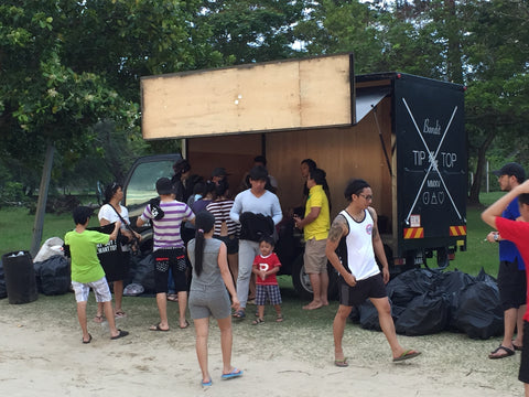 tip top bandit beach clean up event at tanjung aru beach