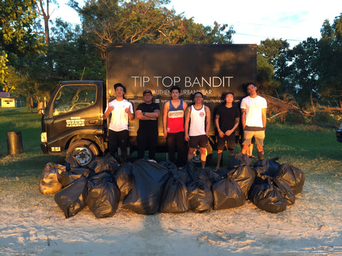 tip top bandit tanjung aru beach clean up