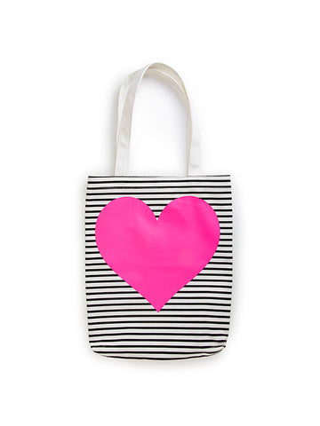 Ban.do Canvas Tote - Black/White Stripe with Neon Heart
