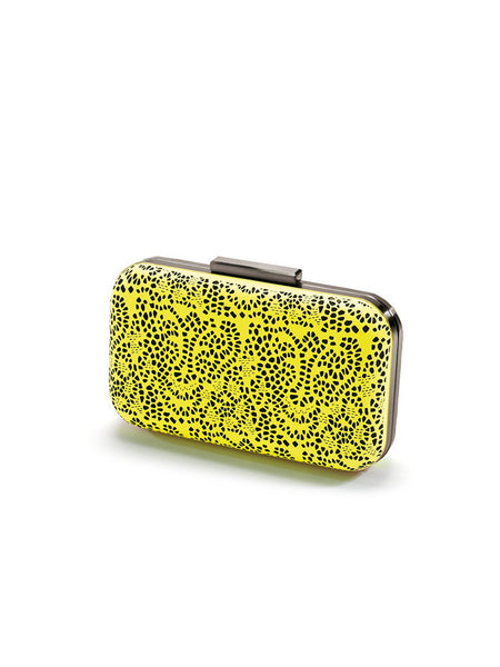 Mata Hari x A-Morir Collaboration: Sunglass Clutch Neon Yellow Perforation Lace Cow Leather