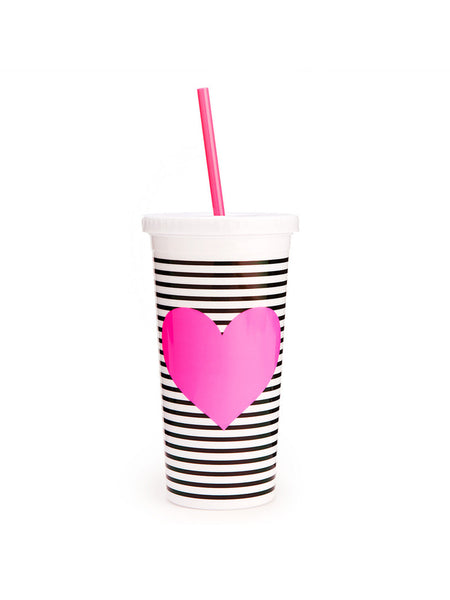 Ban.do Sip Sip Tumbler With Straw - Neon Heart With Stripes
