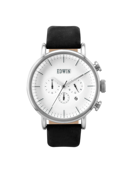 Edwin Watch, ELEMENT Black Leather Strap Chronograph Watch