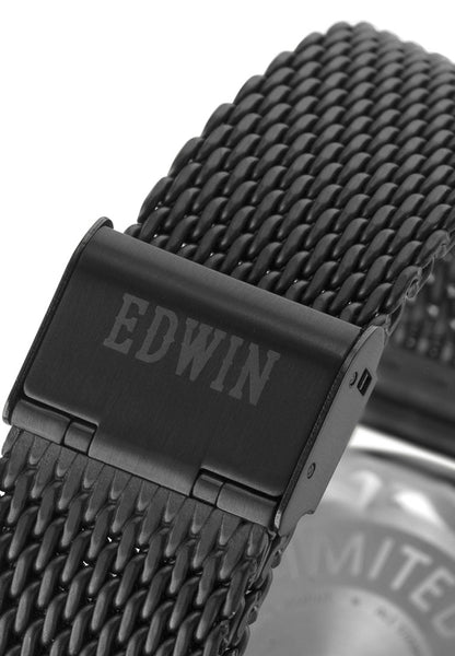 Edwin Watch, EPIC Black Stainless Steel 3-Hand Date Watch