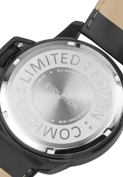 Edwin Watch, EVOLUTION Black Stainless Steel 3-Hand Watch