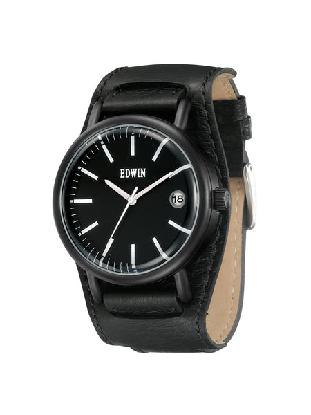 Edwin Watch, Leather Cuff Black Stainless Steel Chronograph Watch for Ladies