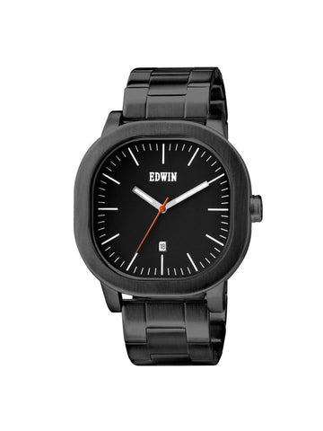 Edwin Watch, ANDERSON Black Stainless Steel 3-Hand Date Watch
