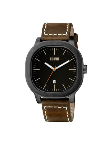 Edwin Watch, ANDERSON Stainless Steel & Brown Genuine Leather Band