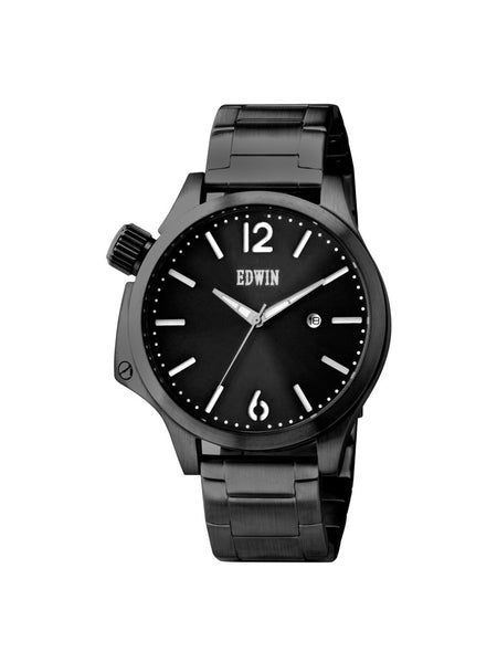 Edwin Watch, BROOK Black Stainless Steel 3-Hand Date Watch