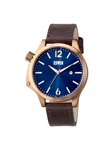 Edwin Watch, BROOK Rose Gold-Tone Stainless Steel & Brown Genuine Leather Band