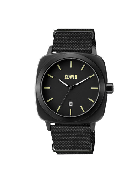 Edwin Watch, JULIUS Black Stainless Steel & Black Genuine Leather Band