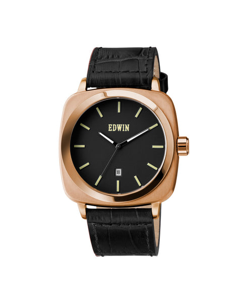 Edwin Watch, JULIUS Rose Gold-Tone Stainless Steel & Black Genuine Leather Band
