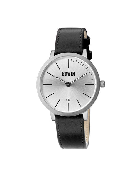 Edwin Watch, KENNY Stainless Steel & Black Genuine Leather Band