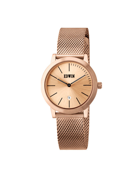 Edwin Watch, KENNY S Rose Gold-Tone Stainless Steel & Mesh Band for Ladies