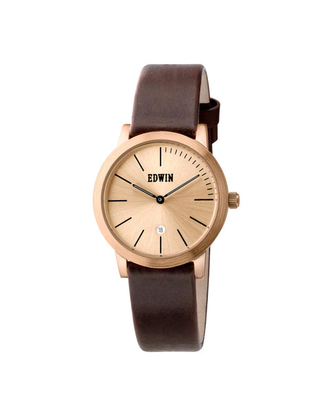 Edwin Watch, KENNY S Rose Gold-Tone Stainless Steel & Brown Genuine Leather Band for Ladies