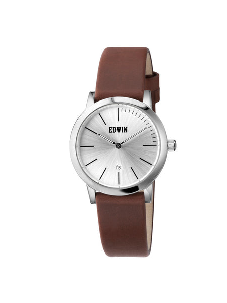 Edwin Watch, KENNY S KENNY S Stainless Steel & Brown Genuine Leather Band for Ladies
