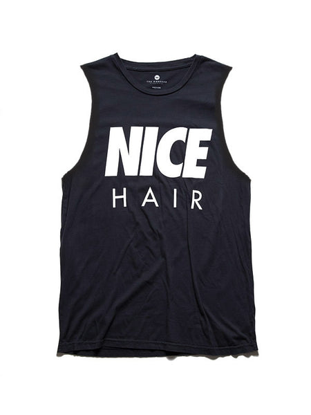 'Nice Hair' Muscle Tee, BLK/WHT