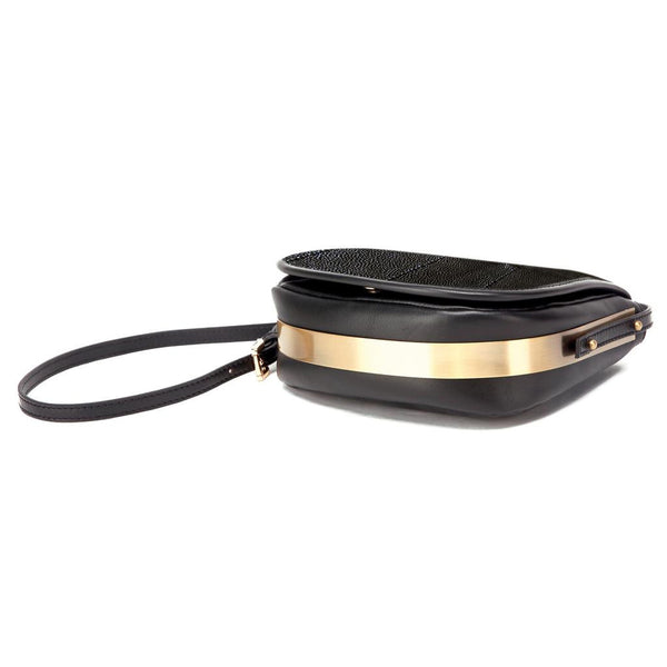 Mata Hari Ali Saddlebag Black Embossed Stingray Leather