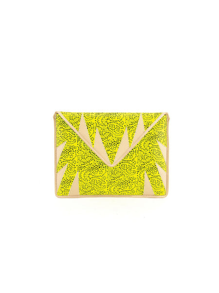Mata Hari x A-Morir Collaboration : Envelope Clutch Neon Yellow / Nude leather
