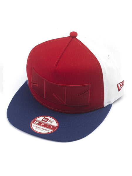 8FIVE2 OG Logo Box New Era Snapback, Scarlet/LT Royal