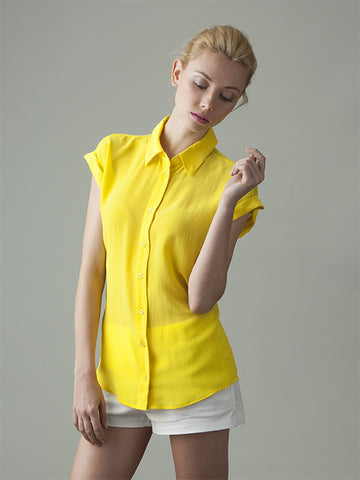 THE BETTIE SILK SHIRT - CALIFORNIA SUNSHINE YELLOW