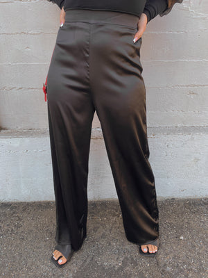 So Silky High Waisted Pants // BLACK