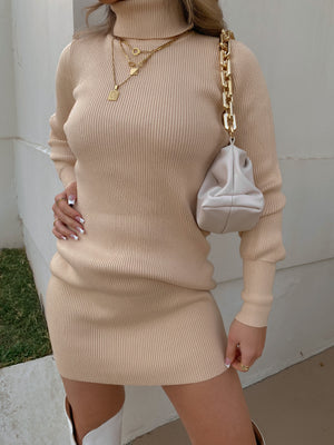 Keep Me Warm Turtleneck Ribbed Dress// Beige