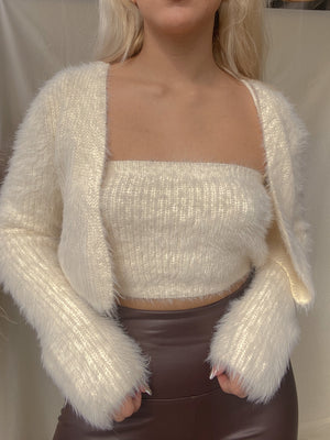 CATCH A FEELING CARDIGAN SET // CREAM