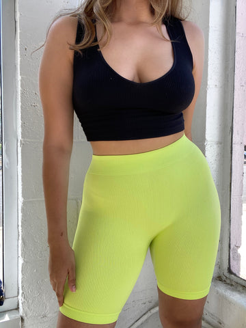 Ribbed Bike Shorts // NEON YELLOW