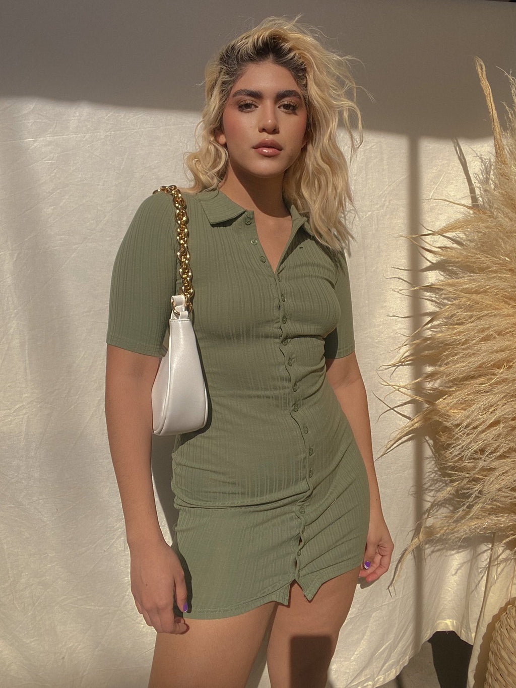 ON COURSE BUTTON UP DRESS // OLIVE