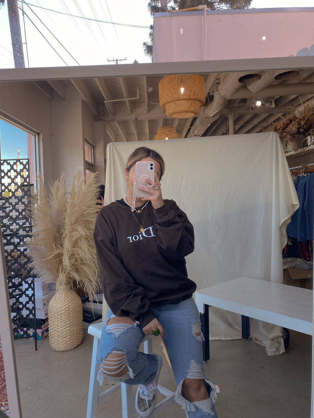 D*IOR CREWNECK// BROWN