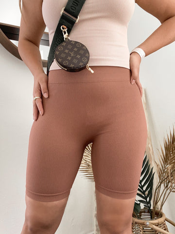 Ribbed Bike Shorts- COFFEE
