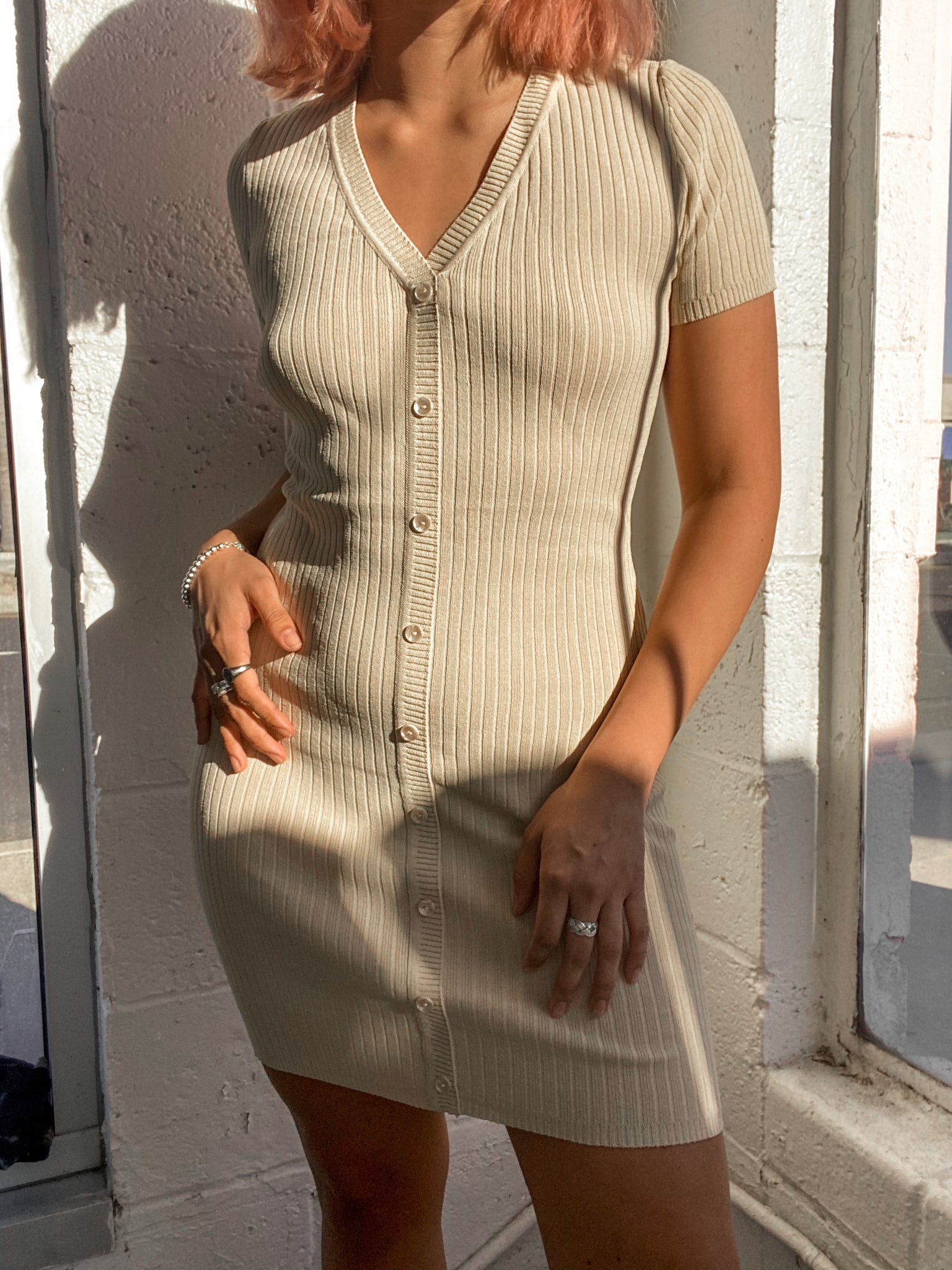 LOS ANGELES AFTERNOON RIBBED DRESS