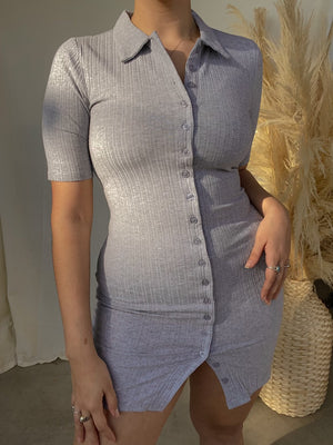 ON COURSE BUTTON UP DRESS // GREY