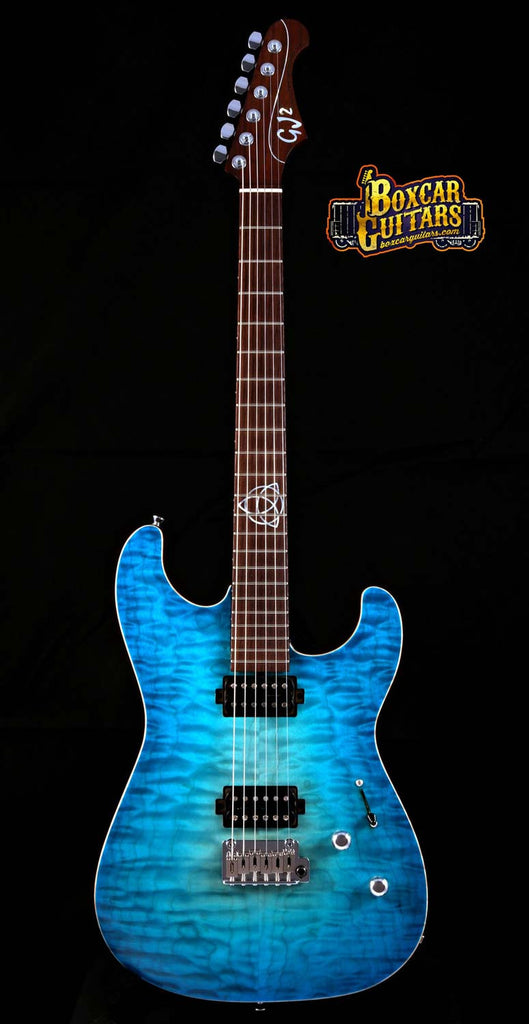 GJ2 Glendora Select Blue Burst Flame Maple 3 Boxcar Guitars