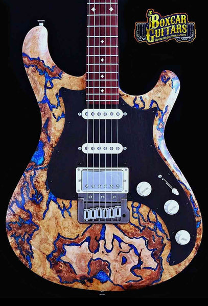 Knaggs Severn T2 Spalted Maple Lapis Stone 1 Boxcar Guitars