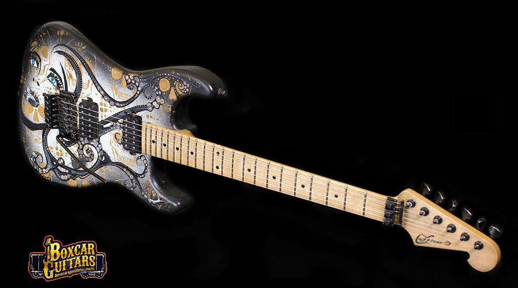 Luxxtone El Machete with Trisha Lurie Art 4 Boxcar Guitars