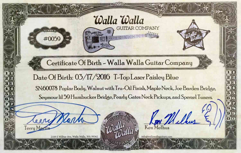 Walla Walla Blue Paisley T-Top 4 Boxcar Guitars