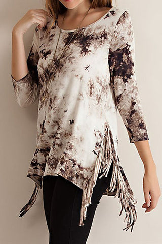 Tie-Dye Fringe Top in Mocha