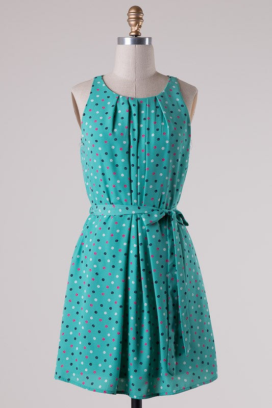 Mint Polka Dot Belted Dress - ROUTE 32