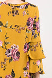Double Belle Floral Dress in Mustard