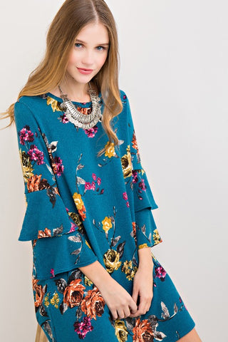 Double Belle Floral Dress in Teal