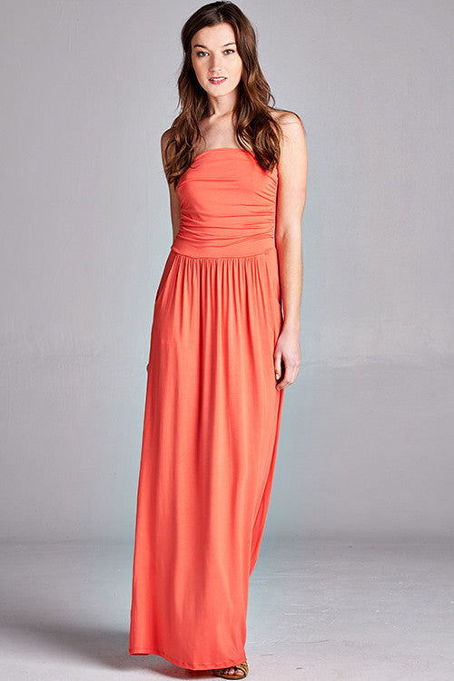 Strapless Pocket Maxi Dress in Coral - ROUTE 32