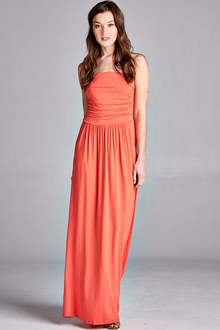 Strapless Pocket Maxi Dress in Coral