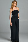 Strapless Pocket Maxi Dress in Black - ROUTE 32