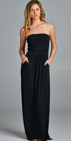 Strapless Pocket Maxi Dress in Black