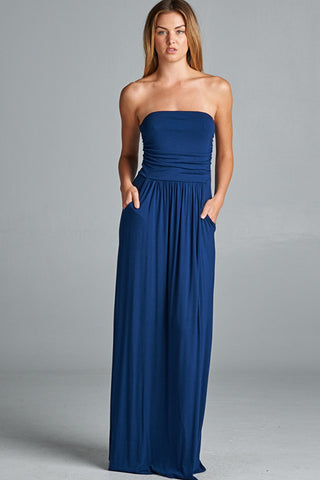 Strapless Pocket Maxi Dress in Navy