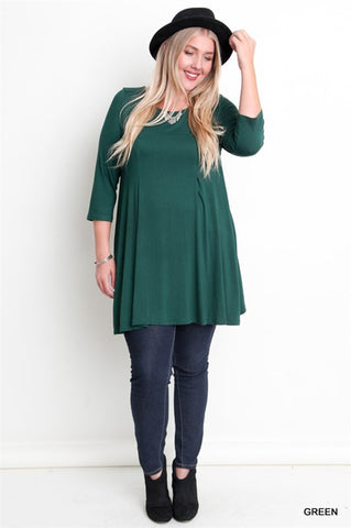 3/4 Sleeve Relaxed Fit Top, Sizes 12-16