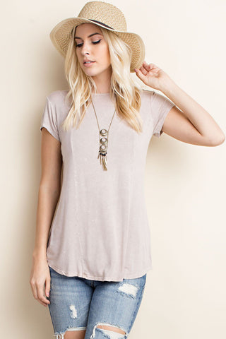 Ashley Lace-Up Top in Light Mocha