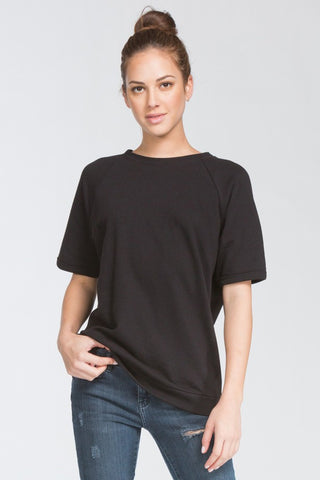 Boxy Raglan Tee in Black