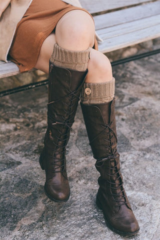 Button Leg Warmers in Mocha or Black